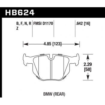 Колодки тормозные HB624Z.642 HAWK PC задние  BMW E90 / E92 335i