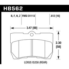 Колодки тормозные HB562N.612 HAWK HP Plus; 16mm