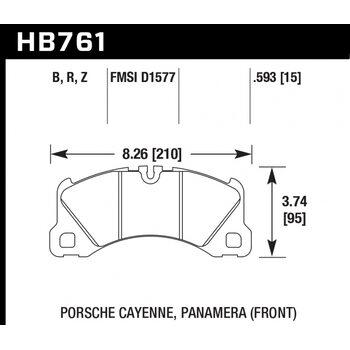 Колодки тормозные HB761B.593 HAWK Street 5.0 передние PORSCHE CAYENNE, PANAMERA, MACAN; VW TOUAREG