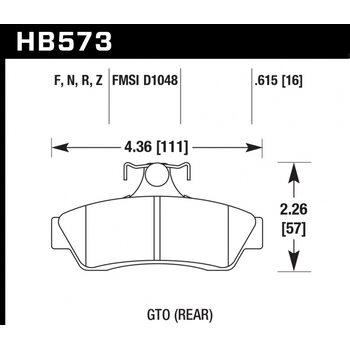 Колодки тормозные HB573R.615 HAWK Street Race; 16mm
