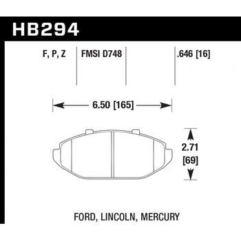 Колодки тормозные HB294P.646 HAWK SuperDuty; 17mm