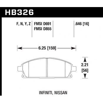 Колодки тормозные HB326N.646 HAWK HP Plus; 17mm