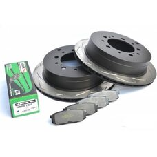 КОМПЛЕКТ ЗАДНИЙ: Тормозные диски DBA 42723S T3 + колодки HAWK LTS Toyota  LC 200,Lexus LX570,LX450D