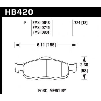 Колодки тормозные HB420F.724 HAWK HPS передние FORD Mondeo (I), (II)