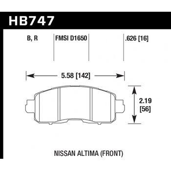 Колодки тормозные HB747R.626 HAWK Street Race; 16mm