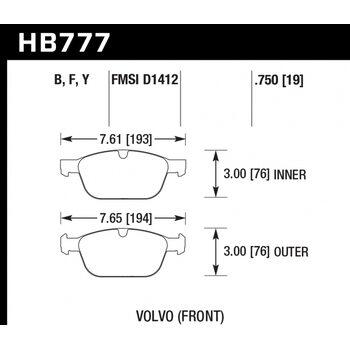 Колодки тормозные HB777B.750 HAWK HPS 5.0; 19mm