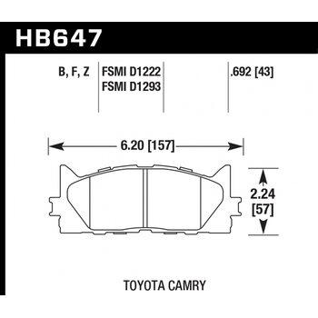 Колодки тормозные HB647B.692 HAWK Street 5.0 передние TOYOTA CAMRY 2007->