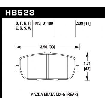 Колодки тормозные HB523R.539 HAWK Street Race