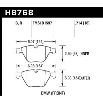 Колодки тормозные HB768B.714 HAWK HPS 5.0; 18mm