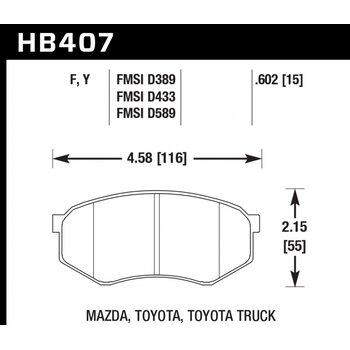 Колодки тормозные HB407Y.602 HAWK LTS