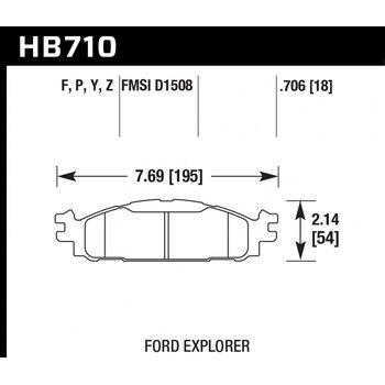 Колодки тормозные HB710Y.706 HAWK LTS  перед Ford Explorer 2011-2013