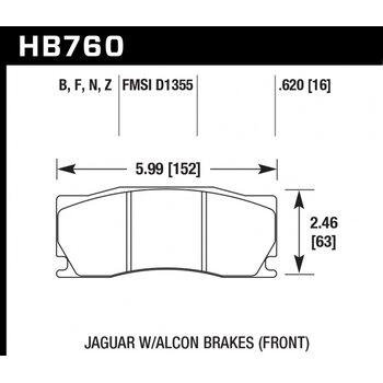 Колодки тормозные HB760N.620 HAWK HP PLUS; 16mm