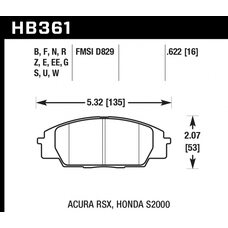 "Колодки тормозные HB361S.622 HAWK HT-10 Honda S2000/Civic Type ""R"", Acura RSX 16 mm"