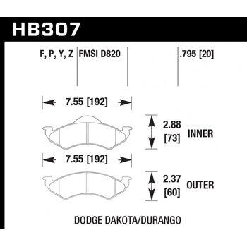 Колодки тормозные HB307F.795 HAWK HPS