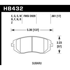 Колодки тормозные HB432R.661 HAWK Street Race передние Subaru Forester, Impreza, Legacy
