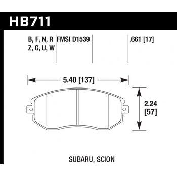 Колодки тормозные HB711N.661 HAWK HP Plus перед Subaru BRZ, Forester, Impreza 2011-> , Legacy, Outba