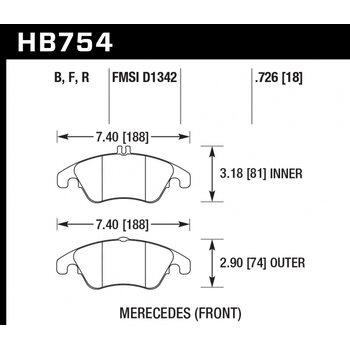 Колодки тормозные HB754R.726 HAWK Street Race; 19mm