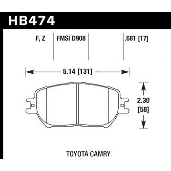 Колодки тормозные HB474F.681 HAWK HPS передние  Lexus GS300, IS250 /  Toyota Camry V30 до06, 08-10