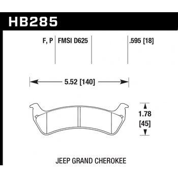 Колодки тормозные HB285P.595 HAWK SuperDuty; 15mm