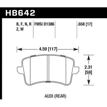 Колодки тормозные HB642B.658 HAWK Street 5.0  Audi A5, A4 (1LA), Q5