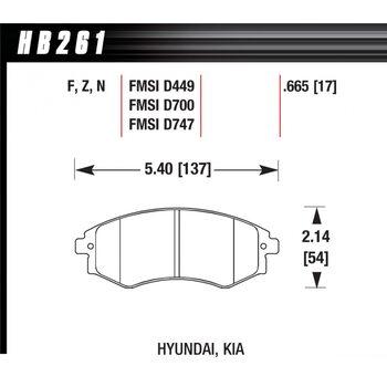 Колодки тормозные HB261Z.665 HAWK PC; 17mm