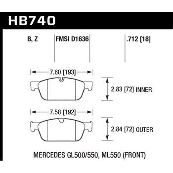 Колодки тормозные HB740Z.712 HAWK PC; 18mm