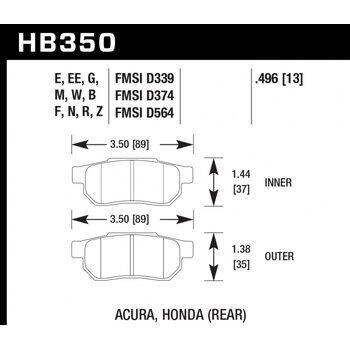 Колодки тормозные HB350R.496 HAWK Street Race