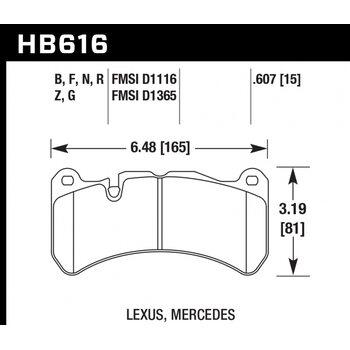 Колодки тормозные HB616N.607 HAWK HP Plus