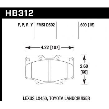 Колодки тормозные HB312R.591 HAWK Street Race; 15mm