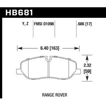 Колодки тормозные HB681Y.686 HAWK LTS  Land Rover Discovery 3, 4; Range Rover 3