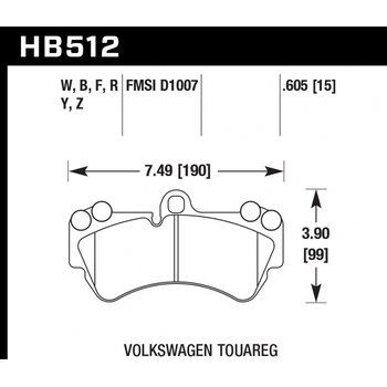 Колодки тормозные HB512R.605 HAWK Street Race; 16mm