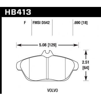 Колодки тормозные HB413F.690 HAWK HPS
