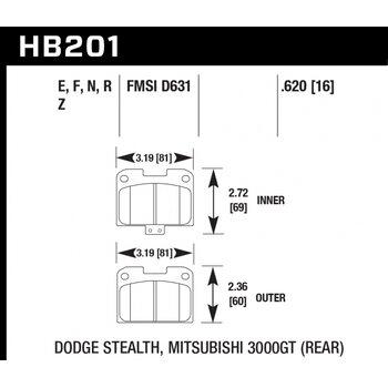 Колодки тормозные HB201N.620 HAWK HP Plus