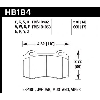 Колодки тормозные HB194R.570 HAWK Street Race  Brembo тип A, C, F / JBT CM4P1