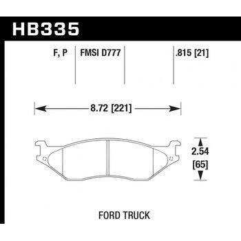 Колодки тормозные HB335F.815 HAWK HPS; 21mm