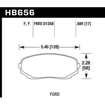 Колодки тормозные HB656Y.684 HAWK PC; 18mm