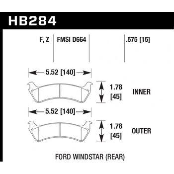 Колодки тормозные HB284Z.575 HAWK PC; 15mm