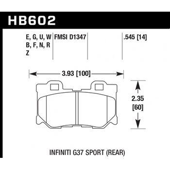 Колодки тормозные HB602R.545 HAWK Street Race; 14mm