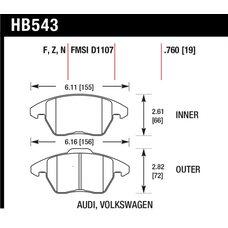 Колодки тормозные HB543R.760 HAWK Street Race передние AUDI A3 / VW Golf 5,6 , Passat CC, B6, B7