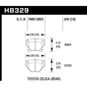 Колодки тормозные HB329N.543 HAWK HP Plus; 14mm