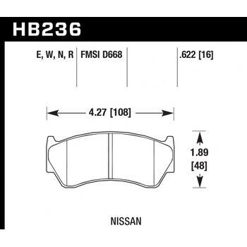 Колодки тормозные HB236R.622 HAWK Street Race; 16mm