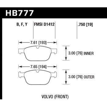 Колодки тормозные HB777Y.750 HAWK LTS; 19mm