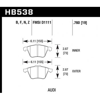 Колодки тормозные HB538Z.760 HAWK PC передние  Audi A4 8E, A6 4F, A8 4E