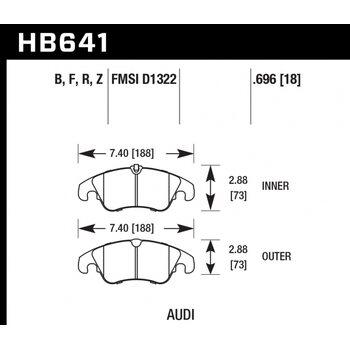 Колодки тормозные HB641R.696 HAWK Street Race; 18mm