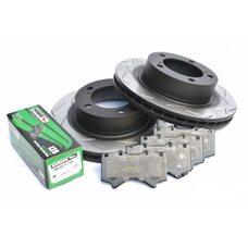 КОМПЛЕКТ ПЕРЕДНИЙ: Тормозные диски DBA 42722S T3 + колодки HAWK LTS HB589Y Toyota  LC200,Lexus LX570