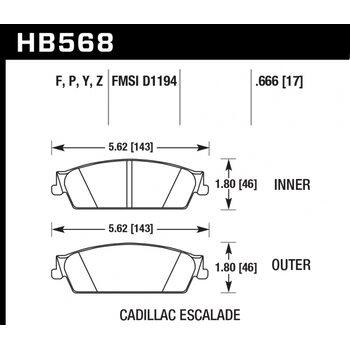 Колодки тормозные HB568Y.666 HAWK LTS Cadillac Escalade, Chevrolet Silverado, Suburban задние