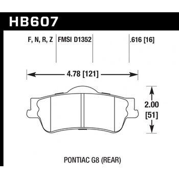 Колодки тормозные HB607R.616 HAWK Street Race; 16mm