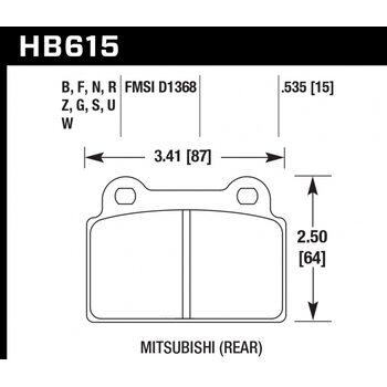 Колодки тормозные HB615R.535 HAWK Street Race задние MITSUBISHI Lancer EVO10
