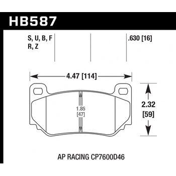 Колодки тормозные HB587R.630 HAWK Street Race; 16mm