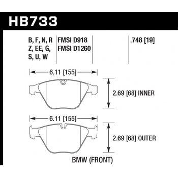 Колодки тормозные HB733R.748 HAWK Street Race; 19mm